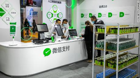 Tencent's WeChat Pay — seen here at the China Retail Trade Fair in November 2020 — is Alipay's main rival.