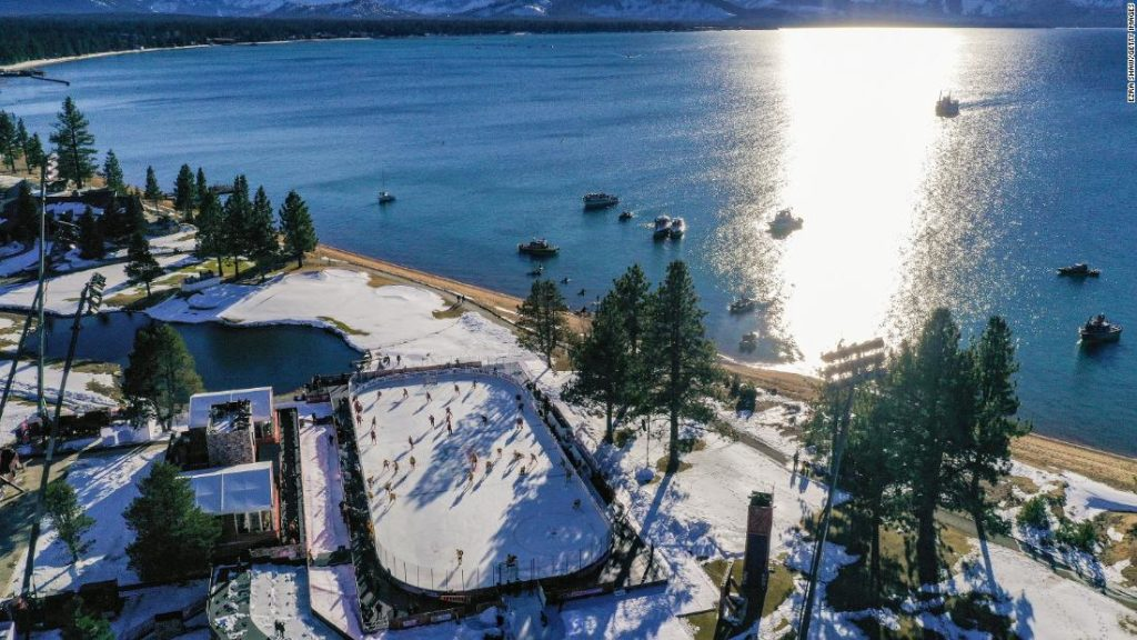Picturesque golf course by lake stages Winter Classic