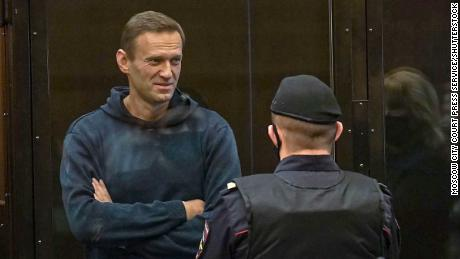Navalny in a glassed off area of Moscow City Court on Tuesday.