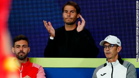 Nadal watches on during Spain's  ATP Cup match.