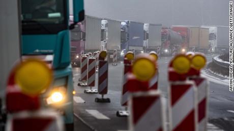 Trucks are stuck in a traffic jam near the German-Czech border.