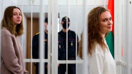 Chultsova (left) and Andreyeva were detained in November while covering a demonstration in memory of an opposition activist.