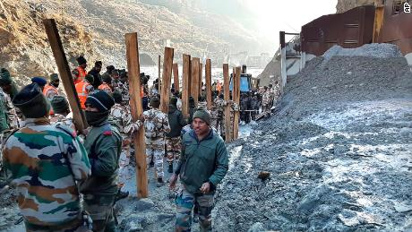 Indo Tibetan Border Police (ITBP) personnel take part in rescue efforts at the hydro power project at Reni village in Chamoli district, Uttarakhand,  February, 8, 2021.