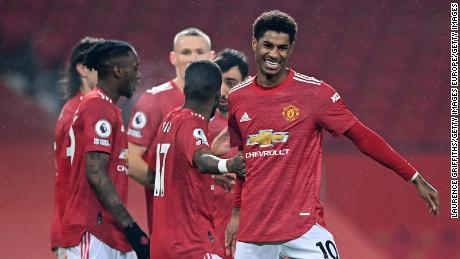Rashford celebrates during United's victory against Southampton at Old Trafford.