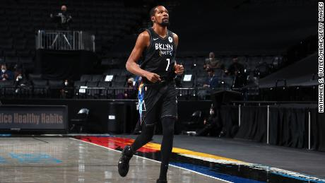 Durant jogs off the court during the game against the Toronto Raptors.