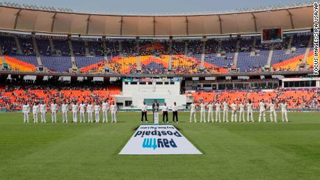 The India and England teams stand during the national anthems ahead of day one of the third Test match.