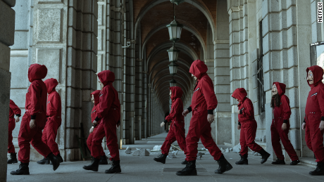 """A still from the set of """"Money Heist."""" Netflix announced last year that it would produce a Korean adaptation of the Spanish series."""