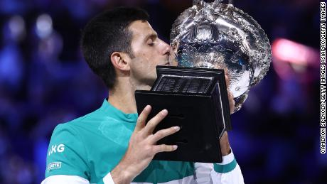 Novak Djokovic won the Australian Open in February, his 18th grand slam, to put him two behind the all-time record.