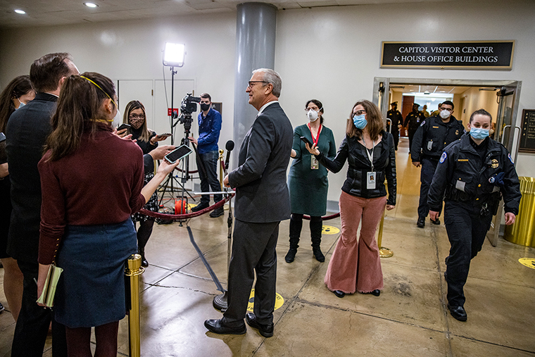 Sen. Kevin Cramer speaks to the press before he heads to the senate floor on February 09.