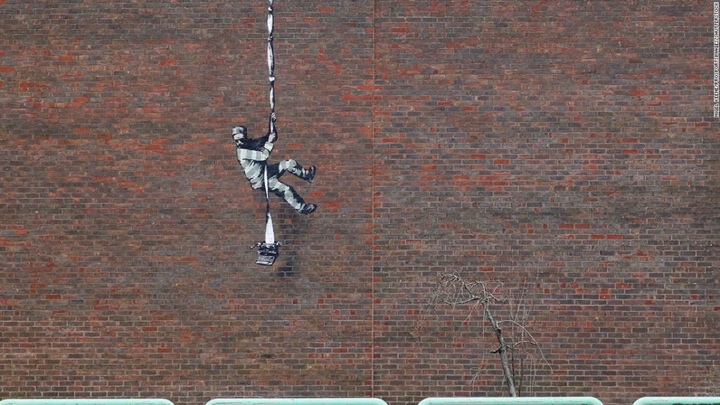 Is Banksy behind this prison escape mural on the wall of Reading Prison?