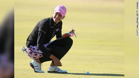 Shasta Averyhardt waits on the fairway during the final round of the LPGA Tour Qualifying Tournament at Daytona Beach in Florida in 2010.
