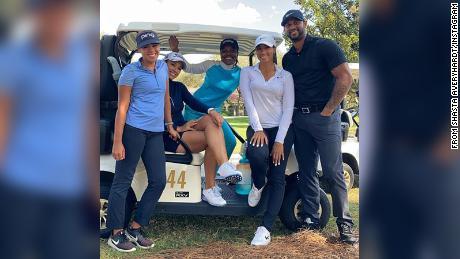 Pro women golfers Sierra Sims, Shasta Averyhardt, Mariah Stackhouse and Cheyenne Woods and  center fielder for the Yankees Aaron Hicks, from Shasta Averyhardt's Instagram.