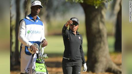 Mariah Stackhouse with Bebe during her rookie year on the second round of the Natural Charity Classic on the Symetra Tour at the Country Club of Winter Haven in Florida.