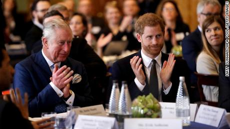 Prince Harry and Prince Charles on February 14, 2018