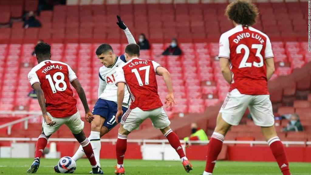 Arsenal vs. Tottenham: Erik Lamela scores stunning rabona goal but is sent off as Arsenal overcome rivals in North London Derby