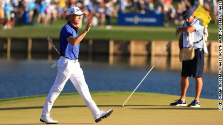 Thomas reacts on the 17th green during the final round of the Players Championship.