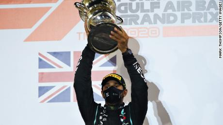 Lewis Hamilton celebrates at the the F1 Grand Prix in Bahrain.