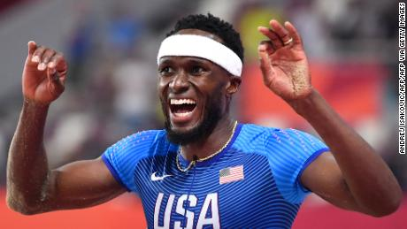 Claye competes in the men's triple jump final at the 2019 IAAF World Athletics Championships.