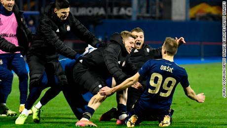 Mislav Orsic celebrates his third goal against Tottenham.