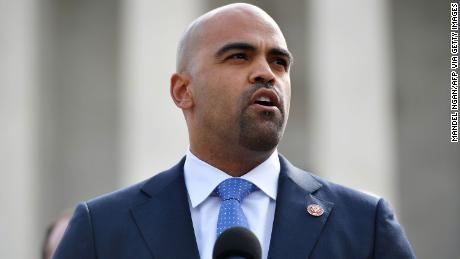 Representative Colin Allred, D-TX, speaks in front of the US Supreme Court on April 2, 2019.