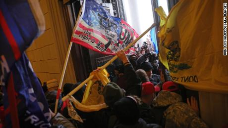 Protesters break into the U.S. Capitol on January 06, 2021 in Washington, DC.