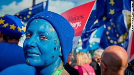 Michela Beltracchi, an Italian who has lived in the UK for over 10 years, protests as part of the People's Vote Rally on October 19, 2019 in London, England.