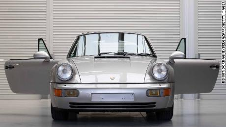 Maradona's Porsche is displayed in Vichte, Belgium, last month before being put up for auction.