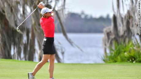 Annika Sorenstam of Sweden plays a shot on the 18th fairway during the final round of the Gainbridge LPGA at Lake Nona Golf and Country Club on Sunday in Orlando.