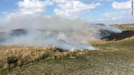 A picture of the controlled burning taking place at Royal St. George's.