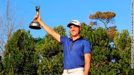 Thomas celebrates his victory at TPC Sawgrass in Ponte Vedra Beach, Florida.