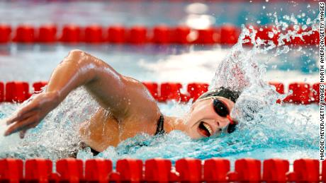 Katie Ledecky competes in the 1500-meter freestyle on day one of the TYR Pro Swim Series in San Antonio, Texas