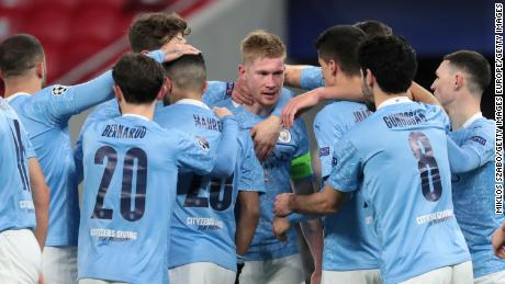 Manchester City celebrate after scoring against Borussia Monchengladbach on Tuesday.