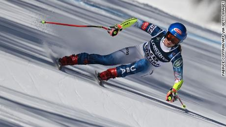 Mikaela Shiffrin at the FIS Alpine World Ski Championships in Cortina.