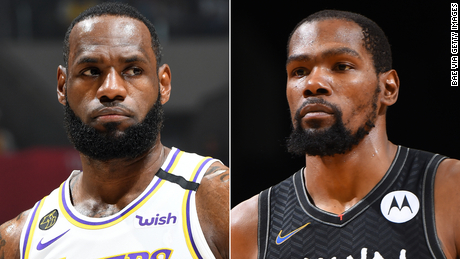 A split of LeBron James (left) and Kevin Durant (right).
