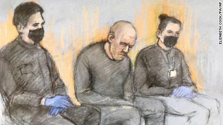 A court sketch shows PC Wayne Couzens at Westminster Magistrates' Court, in London on  Saturday, March 13.