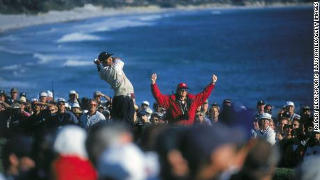 Woods' tee shot on the 14th hole at Pebble Beach golf course during the U.S. Open.