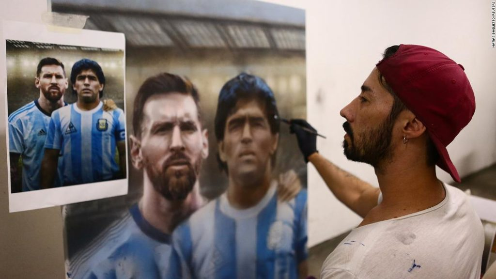 Diego Maradona: Argentine artist channels 'hand of God' with portrait or soccer great