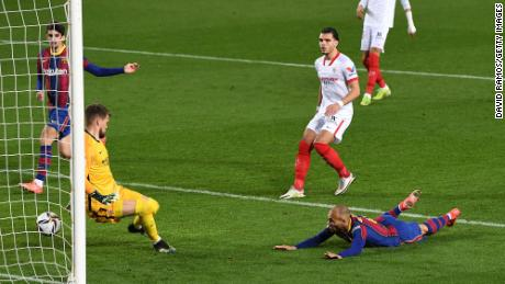Braithwaite scored a vital third goal against Sevilla to book Barcelona's place in the Copa del Rey Final.
