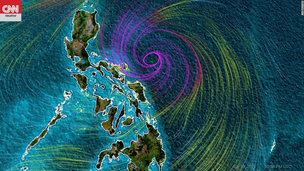 Typhoon Surigae (Typhoon Bising) is slowly moving away from the eastern provinces of the Philippines