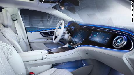 The Mercedes-Benz EQS has an optional screen that covers the full width of the dashboard.