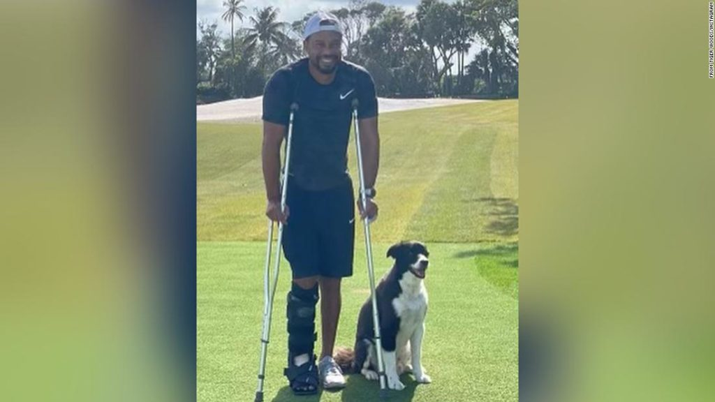 Tiger Woods shows crutches in first Instagram photo of himself since the crash