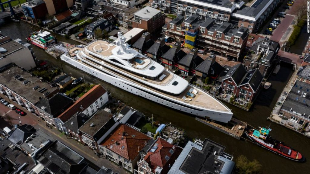 How a 94-meter superyacht is transported through narrow canals in the Netherlands
