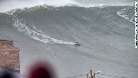 Gabiera competes at the Nazaré Tow Surfing Challenge on February 11, 2020.
