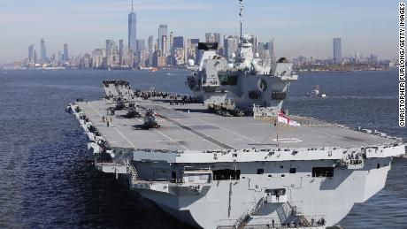 Britain's aircraft carrier HMS Queen Elizabeth arrives in New York on October 19, 2018.
