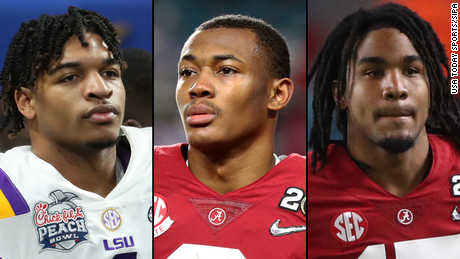 A strong set of wide receivers includes Ja'Marr Chase, left, DeVonta Smith and Jaylen Waddle.