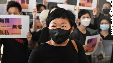 Radio Television Hong Kong producer Bao Choy arrives at the West Kowloon Courts building in Hong Kong on April 22, 2021.
