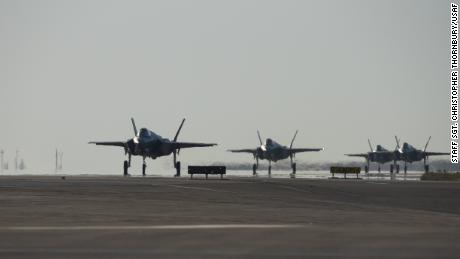 Four F-35A Lightning IIs assigned to the 4th Expeditionary Fighter Squadron taxi after landing at Al Dhafra Air Base, United Arab Emirates, April 15, 2019.