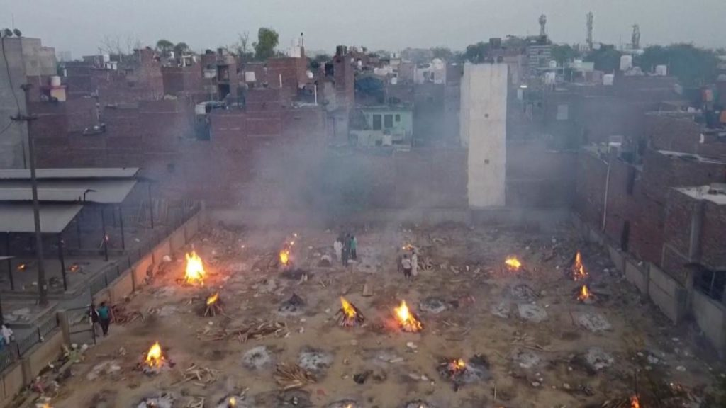 Drone images of mass cremations as India battles Covid-19