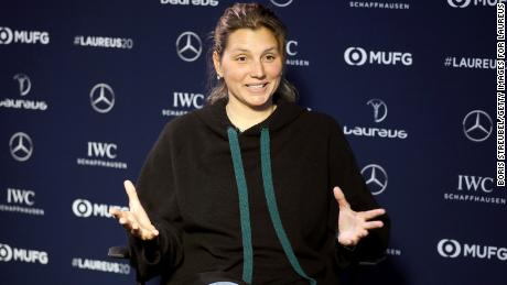 Gabeira gives an interview prior to the Laureus World Sports Awards in Berlin on February 17, 2020. She was nominated as Action Sportsperson of the Year in 2014 and 2019.
