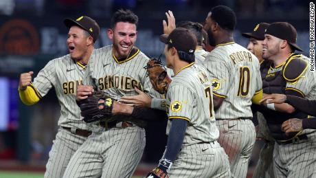 Musgrove, second from left, is mobbed by teammates after pitching a no-hitter.